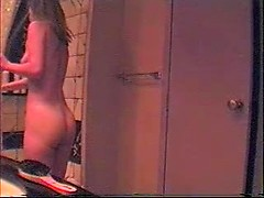 Hidden camera catches hot amateur wife in bathroom getting naked