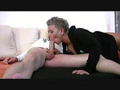 Horny German tattooed mom sucking and riding big hard cock