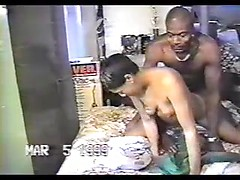 Ebony whore screws her ass on huge black cock in doggy style