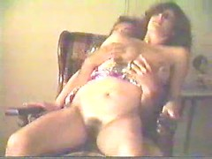 Husband fills her mouth with dick and has his retro wife ride him hard