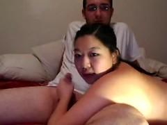 Chubby Chinese girlfriend masturbating on web cam