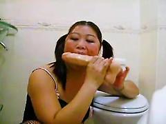 Japan wife in lingerie fucking huge dildo