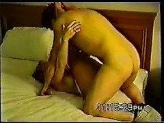 Dirty slut Nina takes hue black cock in pussy and ass in vintage homemade