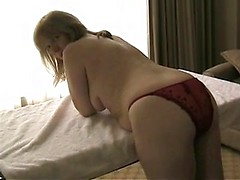 Chubby wife makes her cunt wet with a toy and takes hubby inside her